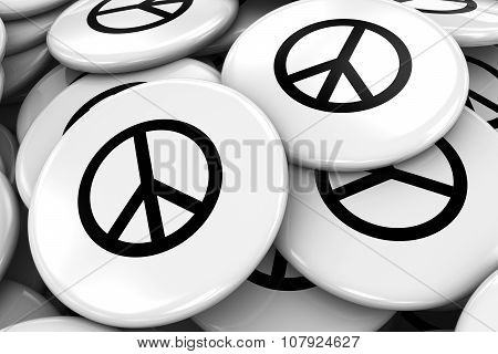 Pile Of Peace Symbol Badges - World Peace Concept Image