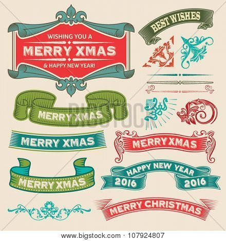 Christmas retro vintage design icon set - labels, ribbons, emblems, decorative elements