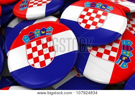 Pile Of Croatian Flag Badges - Flag Of Croatia Buttons Piled On Top Of Each Other