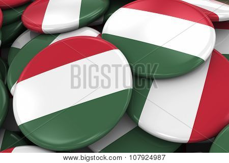 Pile Of Hungarian Flag Badges - Flag Of Hungary Buttons Piled On Top Of Each Other