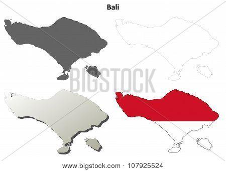 Bali blank outline map set