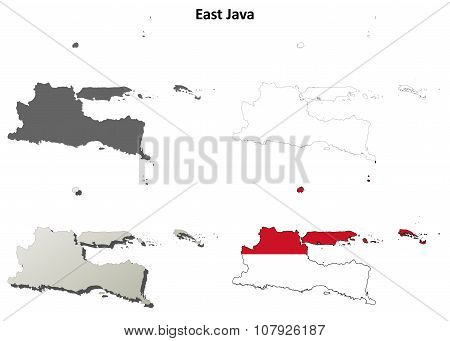 East Java blank outline map set