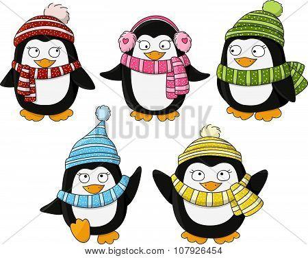 Set of cute little penguins