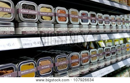 Coquitlam, BC, Canada - November 03, 2015 : Healthy herb seasoning for sale on shelves in a nature food supermarket.