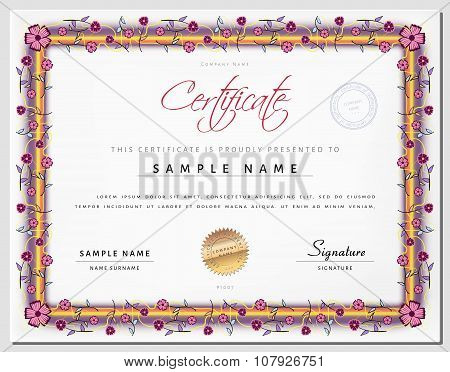 Certificate Template With Border As Flowers In Vector