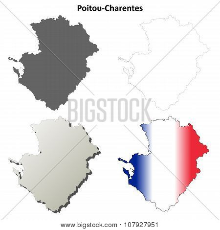 Poitou-Charentes blank detailed outline map set
