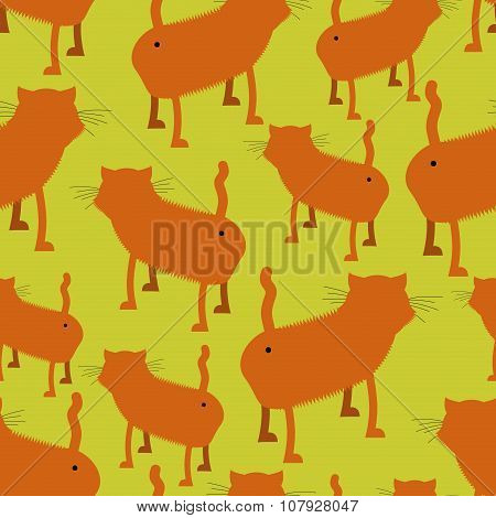 Ass Cat Seamless Pattern. Many Of Booty Red Cats. Pet Stands Back. Background Of Animals. Hilarious
