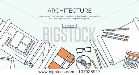 Vector illustration. Flat architectural project. Teamwork. Building and planning. Construction. Penc