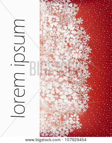 Red Winter Snowflakes Background