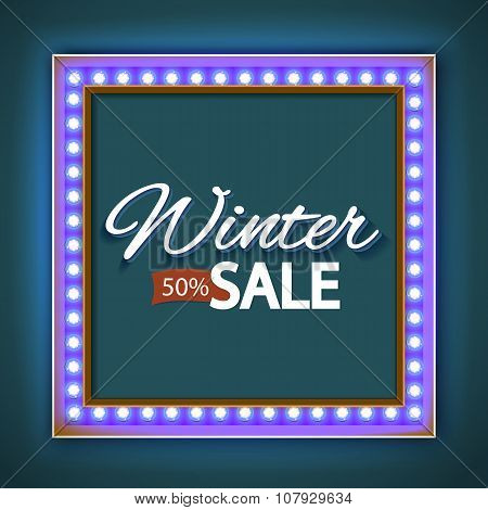 Winter sale with blue lights