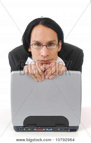 Businessman Leaningon Compuer