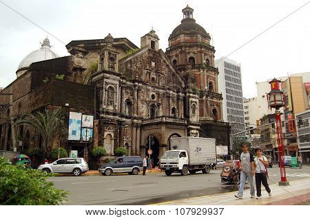 Binondo Church facade in Manila, Philippines