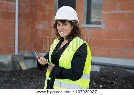 Woman Engineer On Building Site