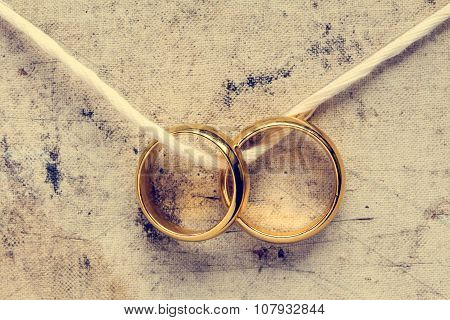 Wedding Rings Hanging On Rope