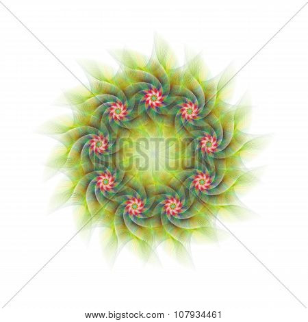 Nine branched circular fractal flower design