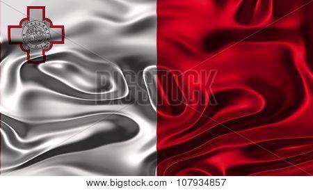 Flag of Malta, Maltese flag painted on silk texture