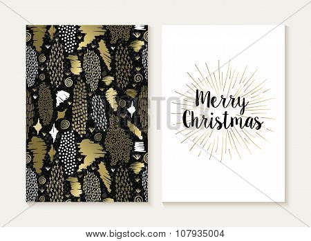 Merry Christmas Card Set Retro Tribal Gold Pattern
