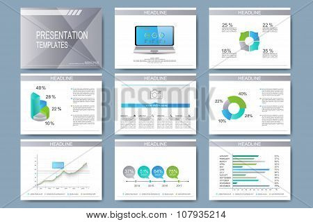Set of vector templates for presentation slides. Modern business design with graph and charts