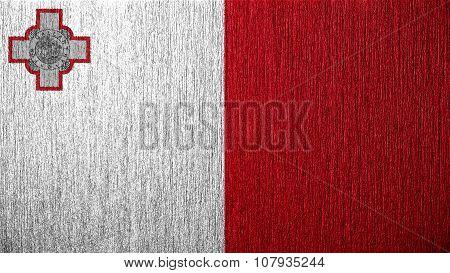 Flag of Malta, Maltese flag painted on metal texture