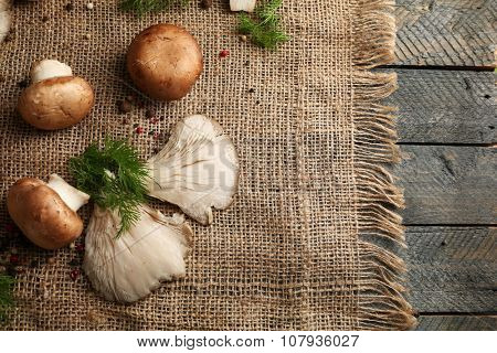 Mushrooms on sackcloth background
