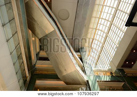 HONG KONG - NOVEMBER 02, 2015: interior of New Town Plaza. New Town Plaza is a shopping mall in the town centre of Sha Tin in Hong Kong. Developed by Sun Hung Kai Properties