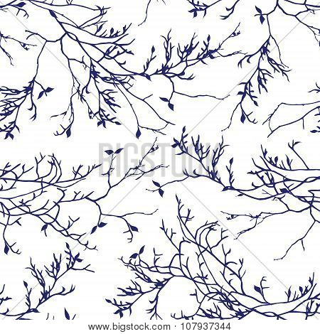 Navy Tree Branches Seamless Vector Pattern