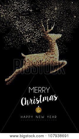 Merry Christmas New Year Deer Jumping Gold Mosaic