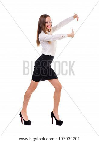 Business woman presenting a copyspace. Isolated on white. Full body.