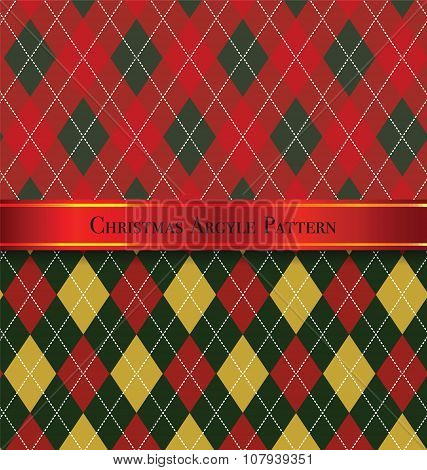 Christmas Argyle Pattern Design Set 6