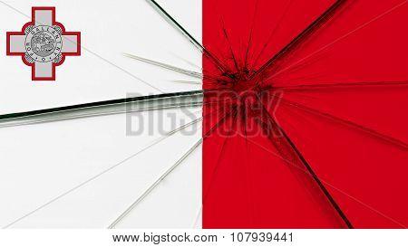 Flag of Malta, Maltese flag painted on broken glass