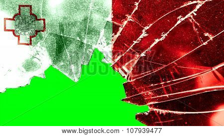 Flag of Malta, Maltese flag painted on broken glass