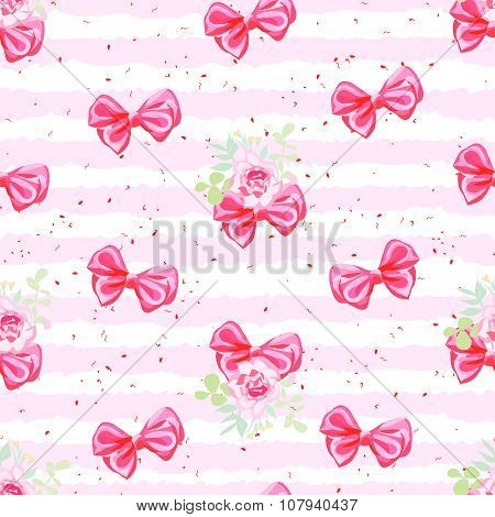 Striped Pink Seamless Vector Pattern With Satin Bows And Rose Flowers