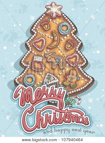Merry Christmas Greeting Card With Cookies
