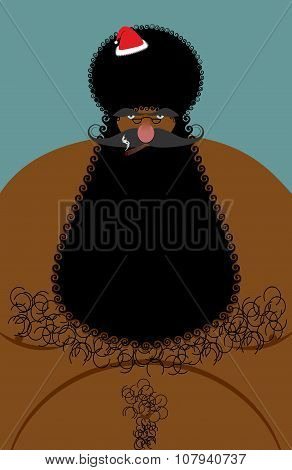 Santa Claus American African Naked. Naked Old Christmas Character With A Hairy Chest. Large Black Be
