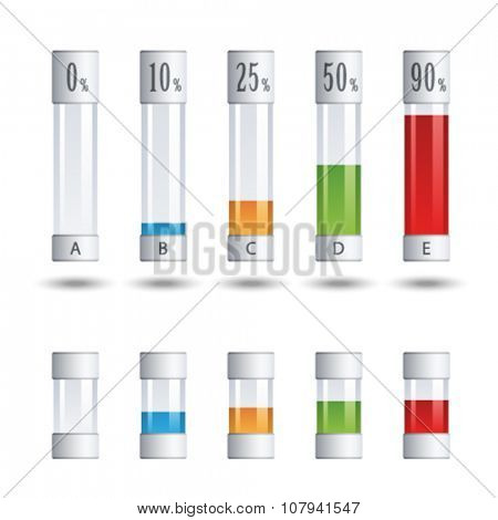vector glass tubes percent infographic