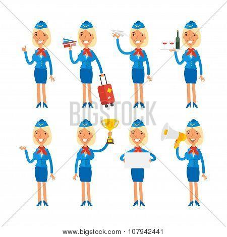 Stewardess in different poses