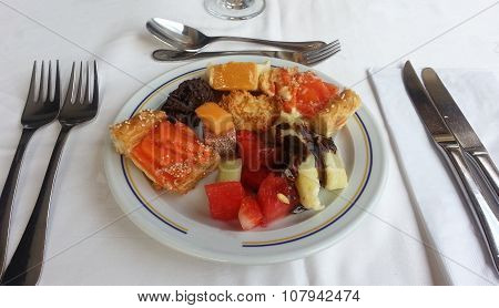 Dessert plate with assorted sweets