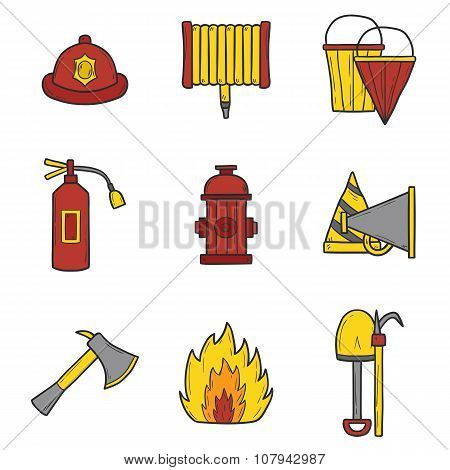Set of cartoon hand drawn firefightering objects