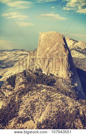 Old Film Retro Toned Half Dome Rock Formation, Yosemite Np.