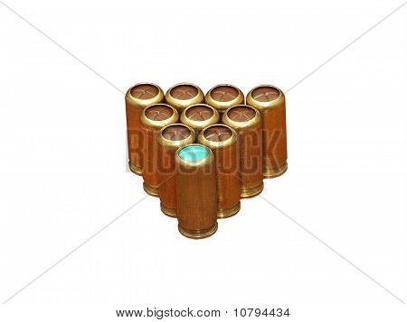 Gas Cartridges In A Triangle Pyramidide.isolated.