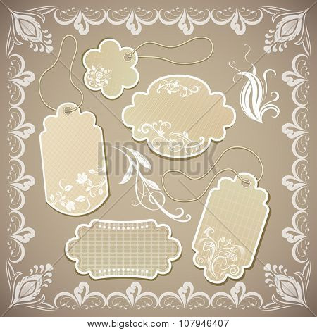 Vintage ornate beige paper labels illustration.