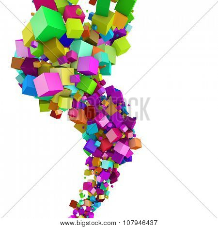 Abstract 3D colorful cubes flow background with white copyspace.