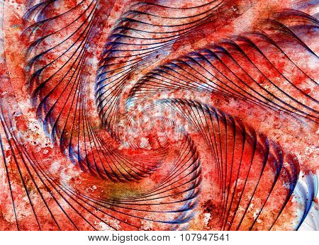 Abstract Spiral Shell On Watercolor Grunge Background