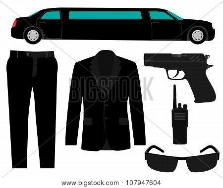 Icon set bodyguard. The gun, suit and a limousine. Vector illustration