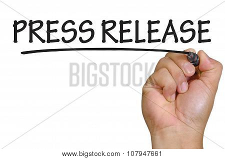 Hand Writing Press Release Over Plain White Background