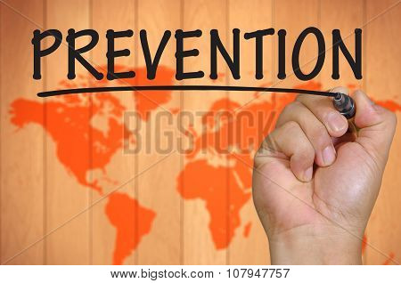 Hand Writing Prevention Over Blur World Background