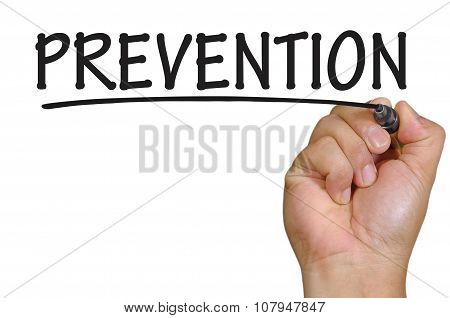 Hand Writing Prevention Over Plain White Background