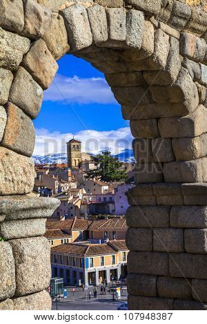 Segovia , Spain - arches of roman aqueduct