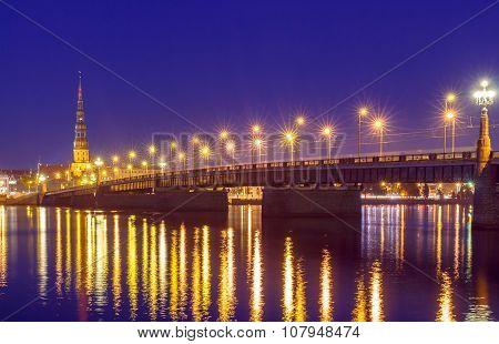 Riga. The bridge across the Daugava River at night.