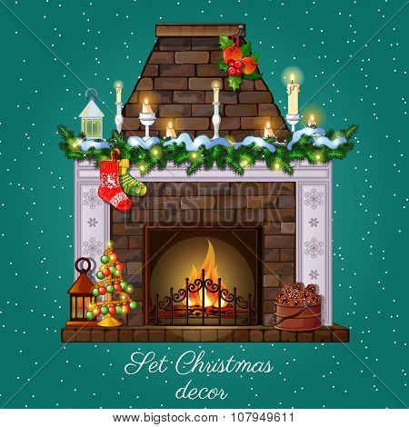 Postcard with Christmas fireplace burning